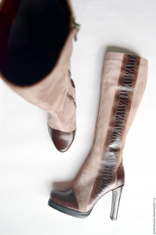 """Обувь ручной работы. Ярмарка Мастеров - ручная работа. Купить Сапоги """"Анна Каренина"""". Handmade. Коричневый, женские сапоги"""