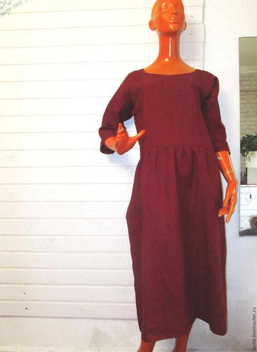 Платья ручной работы. Ярмарка Мастеров - ручная работа. Купить простой бордовый мешок. Handmade. Бордовый, лен, свободный крой