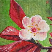 Картины и панно handmade. Livemaster - original item Oil painting Flowering branch (miniature on the stand). Handmade.