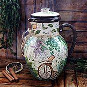 Для дома и интерьера ручной работы. Ярмарка Мастеров - ручная работа Керамический кувшин Травы. Handmade.