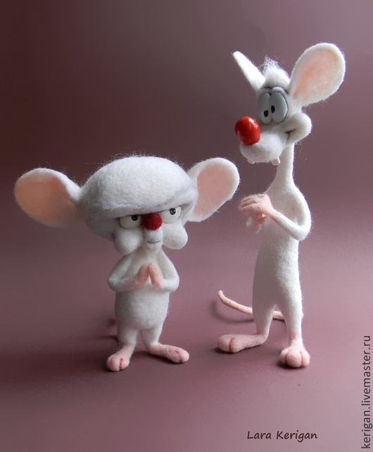 Сказочные персонажи ручной работы. Ярмарка Мастеров - ручная работа. Купить лабораторные мыши Пинки и Брейн. Handmade. Мышь, пинки