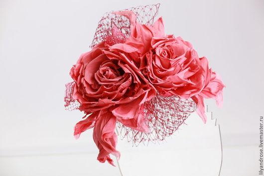Шляпы ручной работы. Ярмарка Мастеров - ручная работа. Купить Коралловые розы из шелка. Вуалетка с коралловыми розами.. Handmade. Коралловый