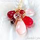 """Колье, бусы ручной работы. Ярмарка Мастеров - ручная работа. Купить Колье """"Aine"""" красные, розовые и малиновые камни и золото. Handmade."""