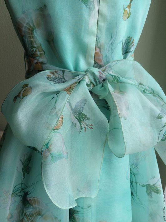 Одежда для девочек, ручной работы. Ярмарка Мастеров - ручная работа. Купить Платье ПЛТЛ 2066. Handmade. Бирюзовый, шифоновое платье
