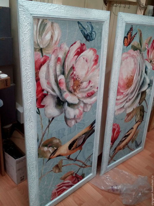 Картины цветов ручной работы. Ярмарка Мастеров - ручная работа. Купить Картины парные 60х120_бирюзовые в деревянном состаренном багете_Цветы. Handmade.