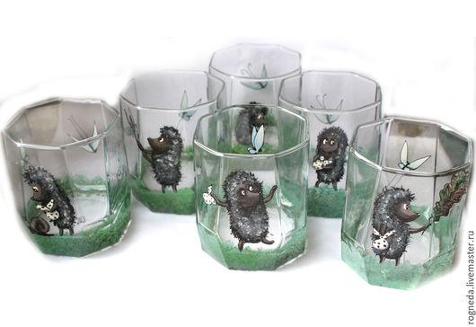 """Бокалы, стаканы ручной работы. Ярмарка Мастеров - ручная работа. Купить Набор стаканов """"Ежик в тумане"""" 6 шт (0830). Handmade."""