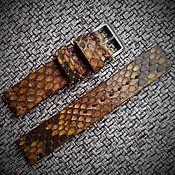 Ремешок для часов ручной работы. Ярмарка Мастеров - ручная работа Ремешок для часов из кожи питона 20мм 22мм 24мм. Handmade.