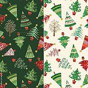 Материалы для творчества ручной работы. Ярмарка Мастеров - ручная работа Ткань Traditional Metallic Christmas Trees Makower UK. Handmade.