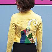Одежда ручной работы. Ярмарка Мастеров - ручная работа летняя джинсовая желтая куртка. Handmade.