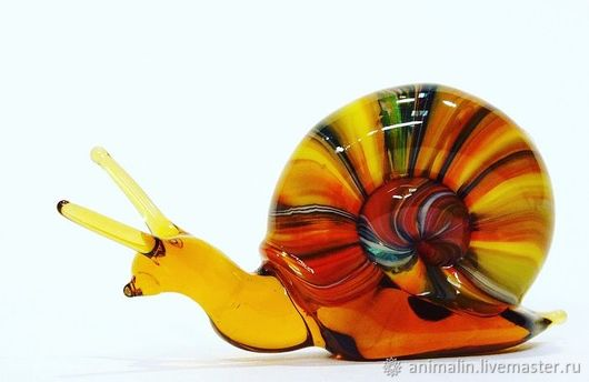 Toy Miniatures handmade. Livemaster - handmade. Buy Decorative figurine made of colored glass Snail Vic.Nature, wave