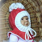 """Работы для детей, ручной работы. Ярмарка Мастеров - ручная работа """"Мальва""""-Шапочка-шлем для крошки)-розовый коралл с помпоном. Handmade."""