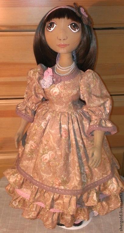 Коллекционные куклы ручной работы. Ярмарка Мастеров - ручная работа. Купить Виола- Интерьерная текстильная кукла. Handmade. Бежевый, бисер