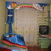 Для дома и интерьера handmade. Livemaster - original item Set: curtains, a cover and pillows for the nursery, the Rainbow. Handmade.