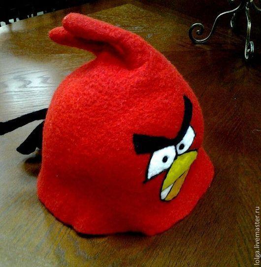 Банные принадлежности ручной работы. Ярмарка Мастеров - ручная работа. Купить Angry Birds. Handmade. Ярко-красный, сауна, шапка