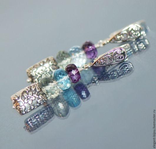 серьги серебряные; серебряные серьги; купить серьги серебро; серьги с самоцветами; серьги с камнями; серьги с топазом; серьги с топазами; подарок на новый год; подарок жене