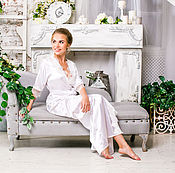 Одежда ручной работы. Ярмарка Мастеров - ручная работа Длинный свадебный халат. Handmade.