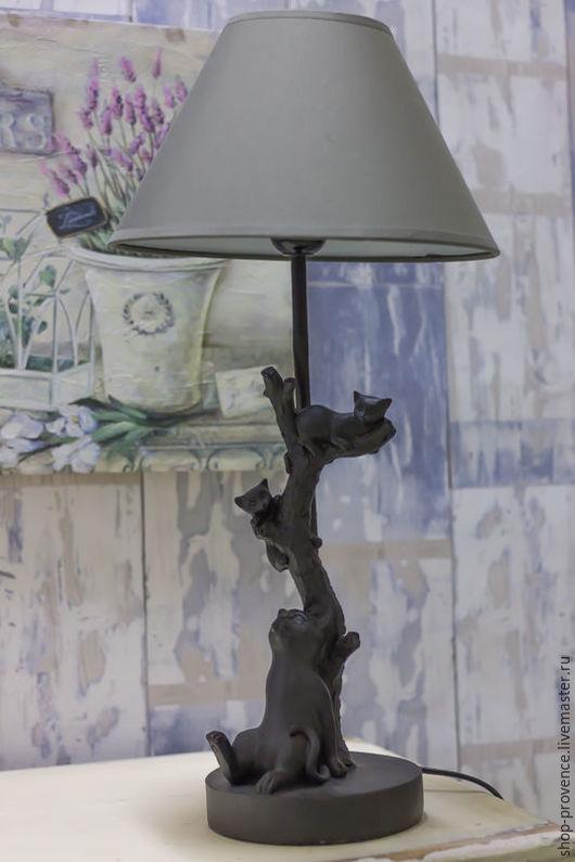 Освещение ручной работы. Ярмарка Мастеров - ручная работа. Купить Настольная лампа Кошки на дереве. Handmade. Черный, светильники
