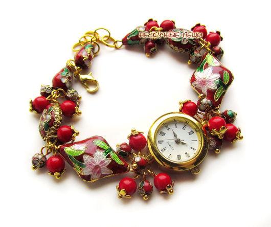 """Часы ручной работы. Ярмарка Мастеров - ручная работа. Купить """"Сказка""""-17 наручные часы с бусинами клуазоне. Handmade. Часы"""
