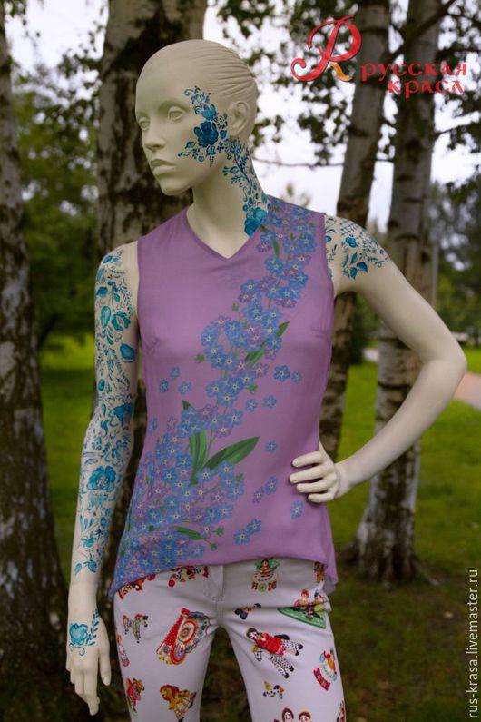 """Блузки ручной работы. Ярмарка Мастеров - ручная работа. Купить Блузка с полиграфическим дизайном """"Незабудки"""". Handmade. Бледно-сиреневый, блузка"""