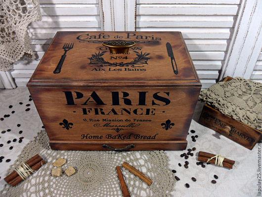 """Кухня ручной работы. Ярмарка Мастеров - ручная работа. Купить """"PARIS"""" большая хлебница. Handmade. Хлебница, для кухни, подарок, заготовка"""