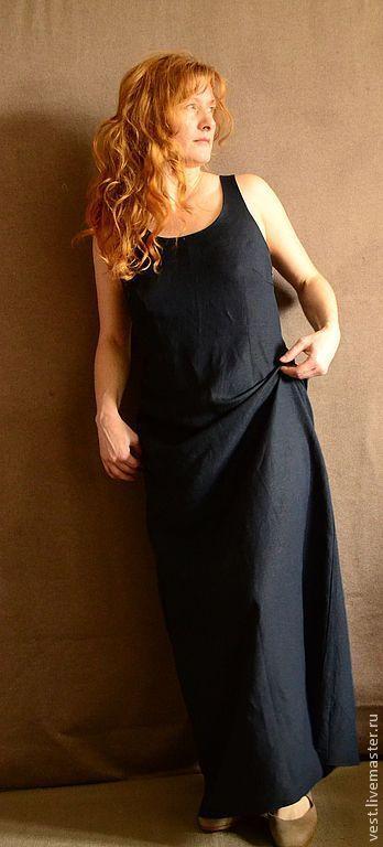 Платья ручной работы. Ярмарка Мастеров - ручная работа. Купить Платье-майка из льна глубокого синего цвета.. Handmade.