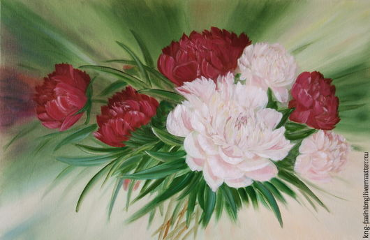 Картины цветов ручной работы. Ярмарка Мастеров - ручная работа. Купить Пионы.. Handmade. Пионы, картина, бордо, масло, холст