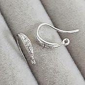 Материалы для творчества handmade. Livemaster - original item Earrings hooks with cubic Zirconia 12mm rhodium (3895). Handmade.