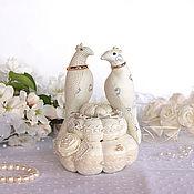 Свадебный салон handmade. Livemaster - original item Pillow, stand for wedding rings Birds. Dairy, ivory. Handmade.