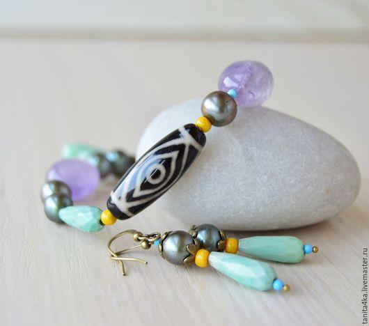 Комплект,браслет и серьги.Этно стиль. Украшения в этническом стиле.Дзи.