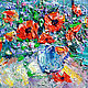 Картины цветов ручной работы. Ярмарка Мастеров - ручная работа. Купить Маки. Handmade. Ярко-красный, голубой цвет, лето