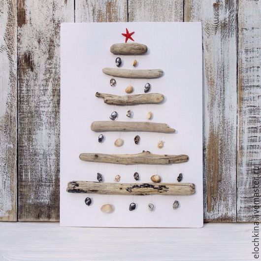 Комплекты аксессуаров ручной работы. Ярмарка Мастеров - ручная работа. Купить Рождественское панно из морских палочек и ракушек. Handmade.