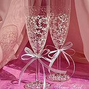 Свадебный салон ручной работы. Ярмарка Мастеров - ручная работа Свадебные бокалы Адель. Handmade.
