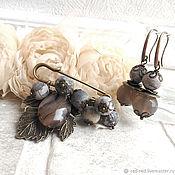 Брошь и серьги Серый комплект украшений из натуральных камней