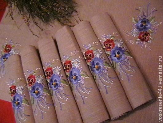 Текстиль, ковры ручной работы. Ярмарка Мастеров - ручная работа. Купить Салфетки льняные Фиалковое лето с вышивкой. Handmade. Серый