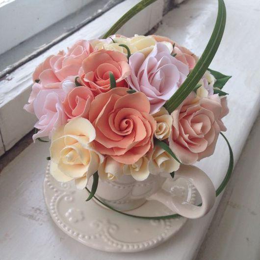 Интерьерные композиции ручной работы. Ярмарка Мастеров - ручная работа. Купить Композиция из полимерной глины Розы. Handmade.