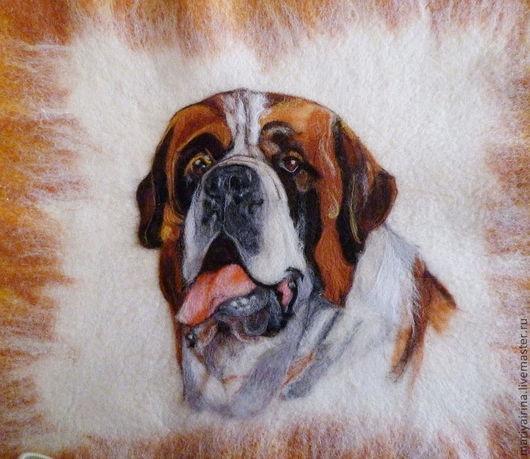 Текстиль, ковры ручной работы. Ярмарка Мастеров - ручная работа. Купить валяная подушка с портретом сенбернара. Handmade. Рыжий