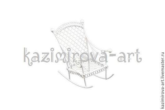 Куклы и игрушки ручной работы. Ярмарка Мастеров - ручная работа. Купить Металлическое мини кресло-качалка белое 4,5х7см. Handmade.