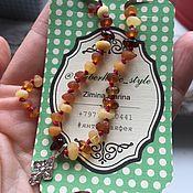 Подарки к праздникам ручной работы. Ярмарка Мастеров - ручная работа Янтарная цепочка из лечебного янтаря с крестиком. Handmade.