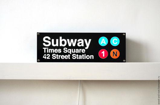 Освещение ручной работы. Ярмарка Мастеров - ручная работа. Купить Светящийся знак New York City Subway. Handmade. Комбинированный