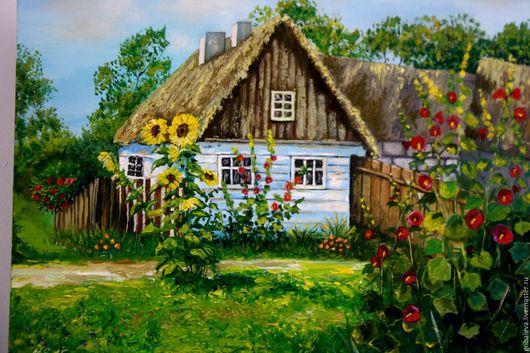 Пейзаж ручной работы. Ярмарка Мастеров - ручная работа. Купить Картина Домик в деревне пейзаж деревня подарок воспитателю учителю. Handmade.