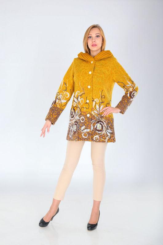 Верхняя одежда ручной работы. Ярмарка Мастеров - ручная работа. Купить СВ 66. Handmade. Оранжевый, женское пальто
