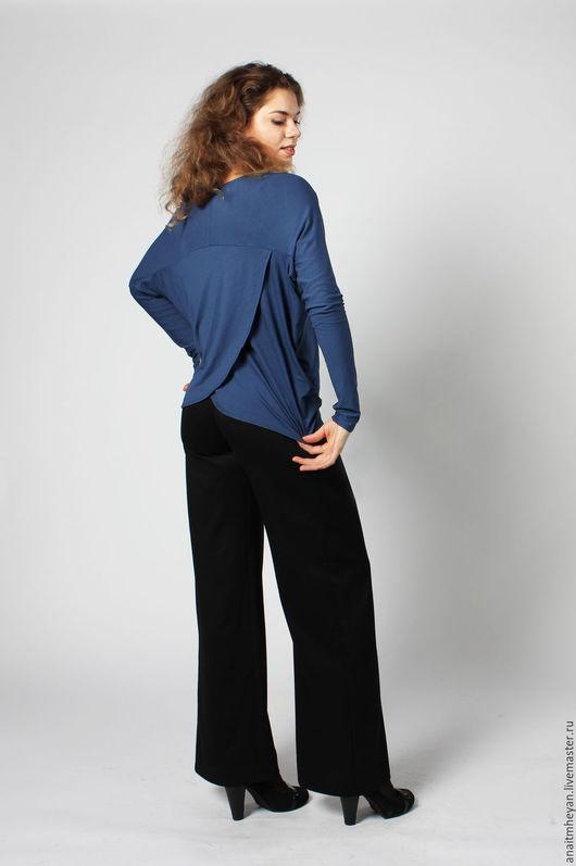 Блузки ручной работы. Ярмарка Мастеров - ручная работа. Купить Блузка-трансформер. Handmade. Тёмно-синий, блузка синяя