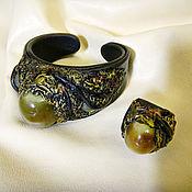 Украшения ручной работы. Ярмарка Мастеров - ручная работа Комплект Браслет + кольцо из кожи. Handmade.