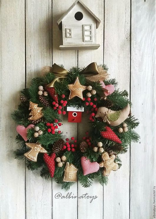 Венки. Новогодний венок. Рождественский венок. Пряничный венок. wreath. венок на дверь