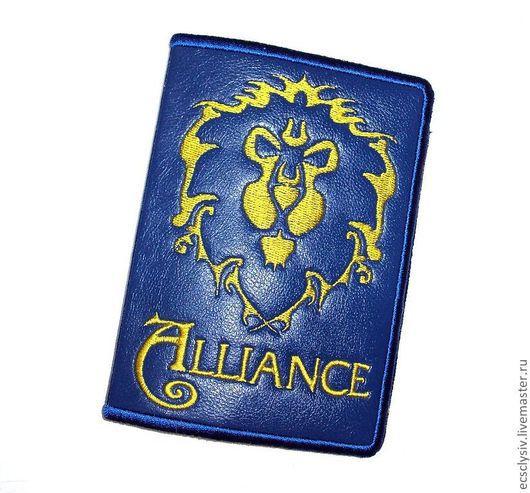 """Обложки ручной работы. Ярмарка Мастеров - ручная работа. Купить Обложка для паспорта """"Alliance"""". Handmade. Обложка, обложка для документов, синий"""
