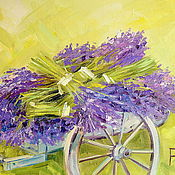 Картины и панно handmade. Livemaster - original item Oil painting on canvas. Cart with lavender. Lavender Flowers. Handmade.