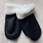 Аксессуары handmade. Livemaster - original item Men`s Leather Sheepskin Mittens Black. Handmade.