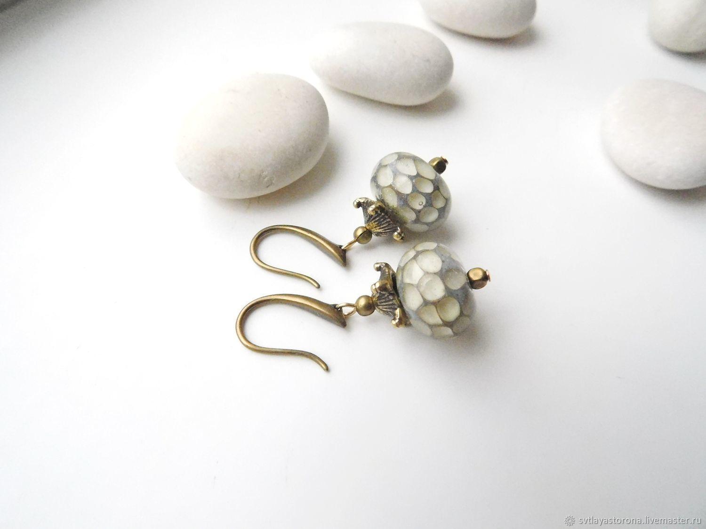 Earrings with beads lampwork Vanilla sky, Earrings, Temryuk,  Фото №1