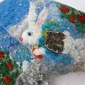 Работы для детей, ручной работы. Ярмарка Мастеров - ручная работа варежки с зайчиком самые лучшие  валяные шерстяные. Handmade.