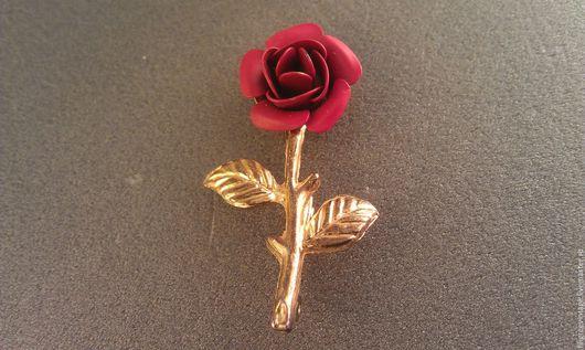 Винтажные украшения. Ярмарка Мастеров - ручная работа. Купить Брошь красная роза. Винтаж США. Handmade. Роза, брошь винтаж